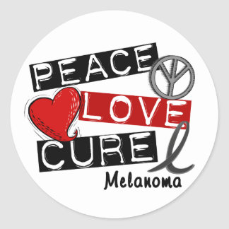 PEACE LOVE CURE MELANOMA Shirts & Gifts Round Sticker