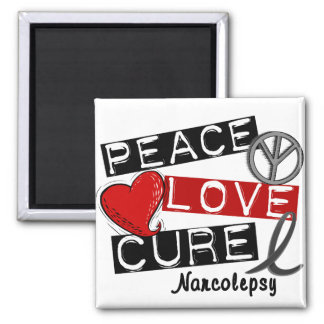 PEACE LOVE CURE NARCOLEPSY SQUARE MAGNET