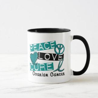 Peace Love Cure Ovarian Cancer Mug