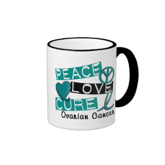 Peace Love Cure Ovarian Cancer Ringer Mug