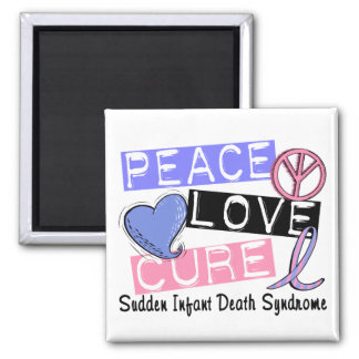 Peace Love Cure SIDS Sudden Infant Death Syndrome Square Magnet