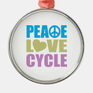 Peace Love Cycle Metal Ornament