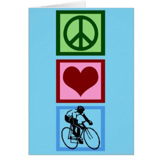 Peace Love Cycling Blue Cyclist Card