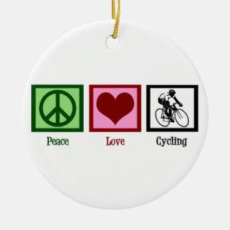 Peace Love Cycling Ceramic Ornament