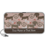 Peace Love Dachshunds Doodle Speakers Personalised