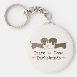 Peace Love Dachshunds Keychain