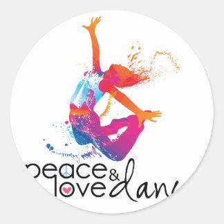 Peace & love Dance Classic Round Sticker