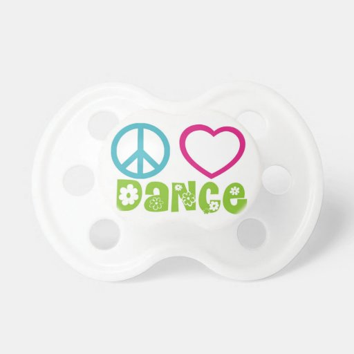 Peace Love Dance Baby Pacifier