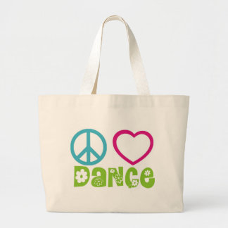 Peace Love Dance Large Tote Bag