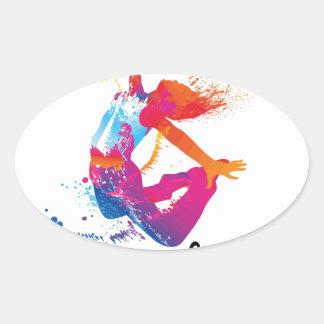 Peace & love Dance Oval Sticker