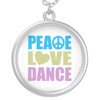 Peace Love Dance Silver Plated Necklace