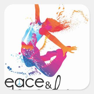 Peace & love Dance Square Sticker