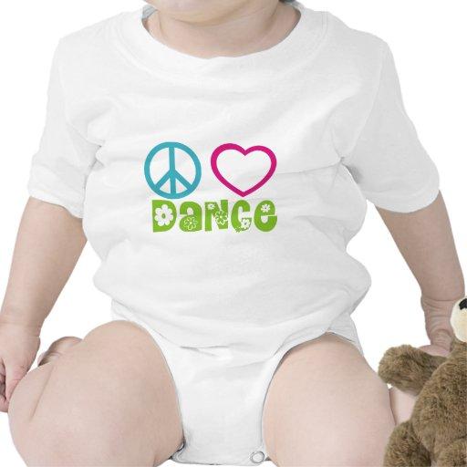 Peace Love Dance Baby Bodysuits