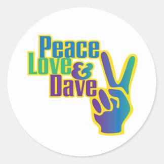 Peace, Love & Dave sticker