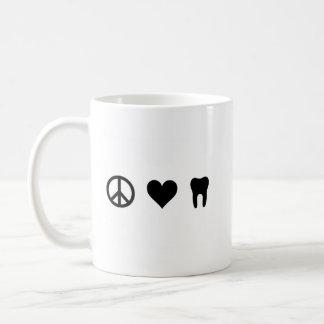 Peace, Love, Dentistry Basic White Mug