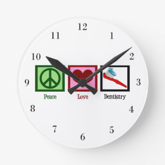 Peace Love Dentistry Round Clock