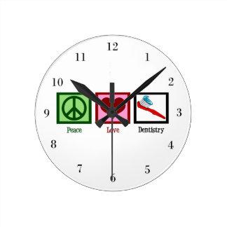 Peace Love Dentistry Wall Clocks