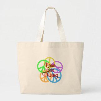 Peace Love Diving Large Tote Bag