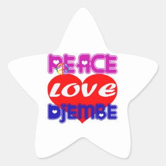 Peace Love djembe Star Stickers