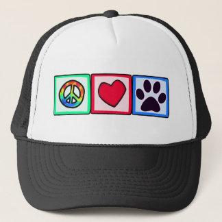 Peace, Love, Dog; Pawprint Trucker Hat