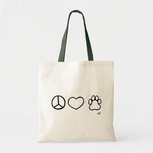 Peace, Love, Dogs Budget Tote Bag
