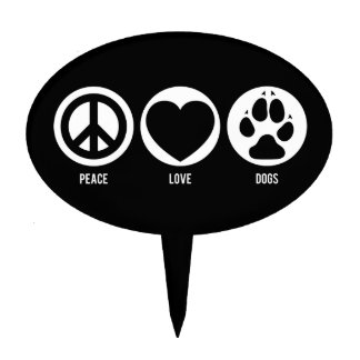 Peace Love Dogs Cake Toppers