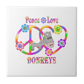 Peace Love Donkeys Tile