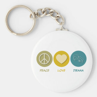 Peace Love Drama Basic Round Button Key Ring