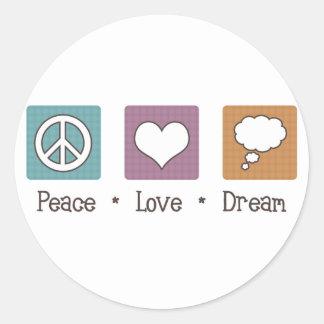 Peace Love Dream Classic Round Sticker