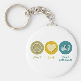 Peace Love Drive Ambulance Basic Round Button Key Ring