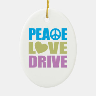 Peace Love Drive Ceramic Ornament