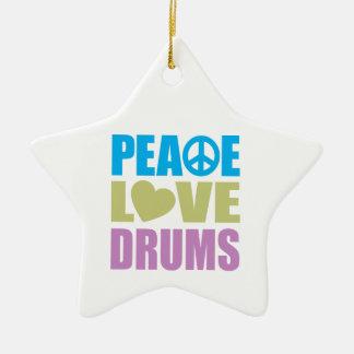 Peace Love Drums Ceramic Star Decoration