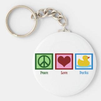 Peace Love Ducks Basic Round Button Key Ring