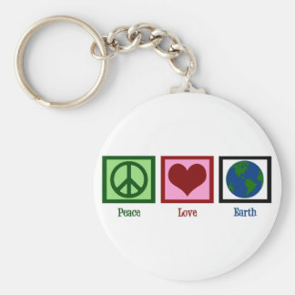 Peace Love Earth Basic Round Button Key Ring