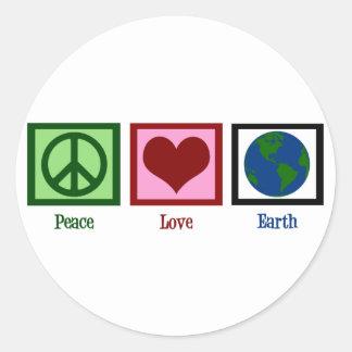 Peace Love Earth Round Sticker