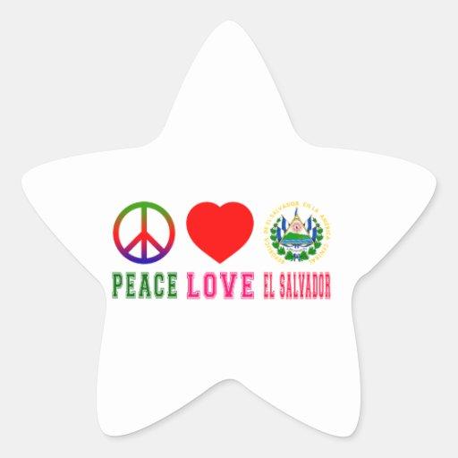Peace Love El Salvador Star Stickers