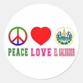Peace Love El Salvador Round Sticker