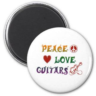 Peace Love Electric Guitars rainbow Magnet