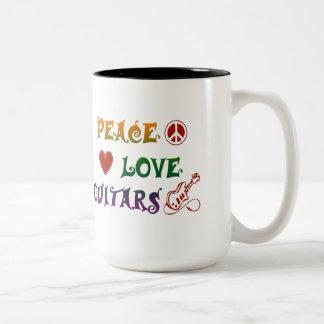 Peace Love Electric Guitars rainbow Coffee Mug