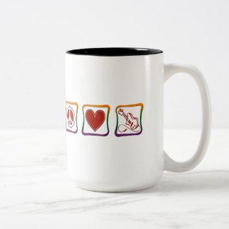 Peace Love Electric Guitars rainbow squares Mug