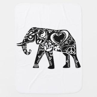 Peace Love Elephant Baby Blanket