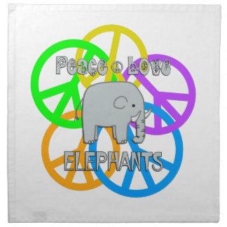 Peace Love Elephants Napkin