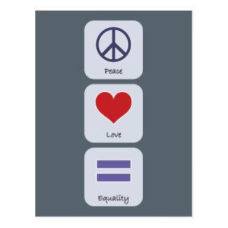 Peace Love Equality Postcard