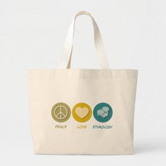 Peace Love Etymology Canvas Bag
