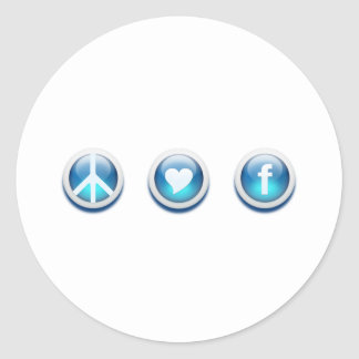 Peace Love Facebook Round Sticker