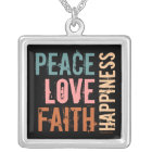 Peace, Love, Faith, Happiness Silver Plated Necklace