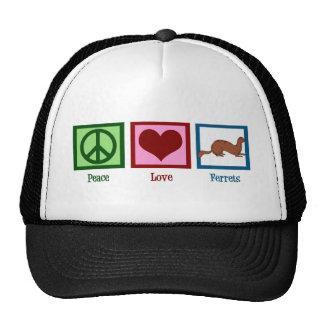 Peace Love Ferrets Trucker Hats