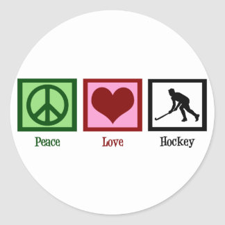 Peace Love Field Hockey Round Sticker