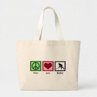 Peace Love Field Hockey Tote Bags