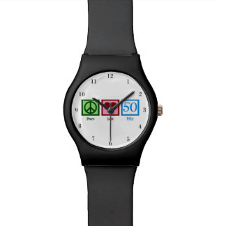 Peace Love Fifty Over the Hill Wristwatches
